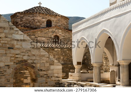Historic Byzantine church Panagia Ekatontapiliani in Parikia, Paros island, Greece - stock photo
