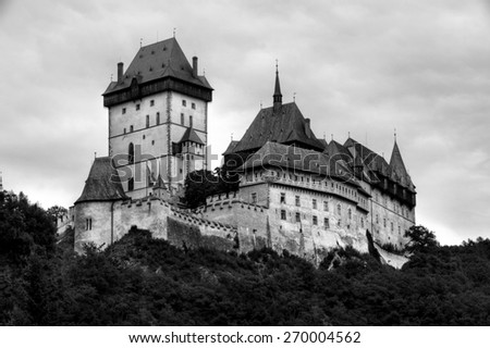 Historic castle in Karlstejn, Czech Republic - stock photo