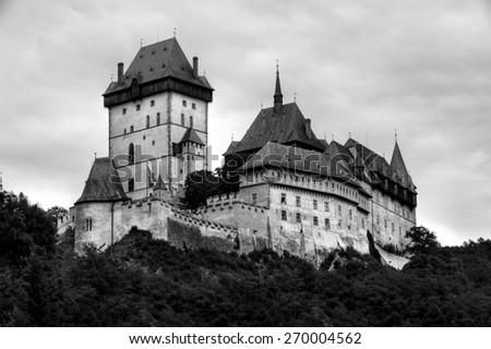 Historic castle in Karlstejn, Czech Republic - stock photo