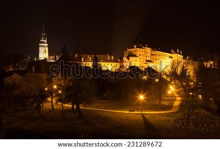 Historic castle of Cesky Krumlov at night, Czech Republic - stock photo