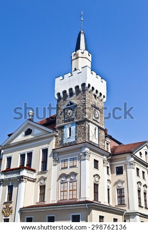 Historic castle-type city hall with tower in old town of Loebau / L�¶bau, Saxony, Germany