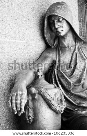 historic cemetery artwork on graveyard P�¶��neck, Germany - stock photo