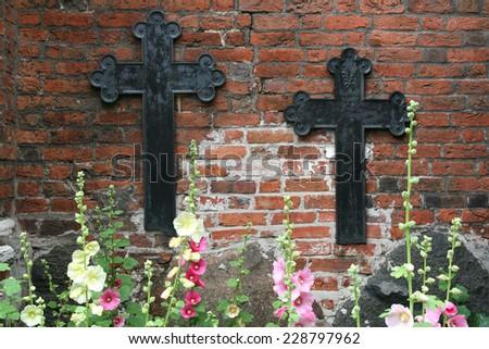 historic cemetery crosses, Darlowo, Poland, - stock photo