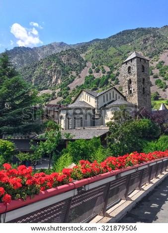 Historic center of Andorra La Vella, capital of Andorra. - stock photo