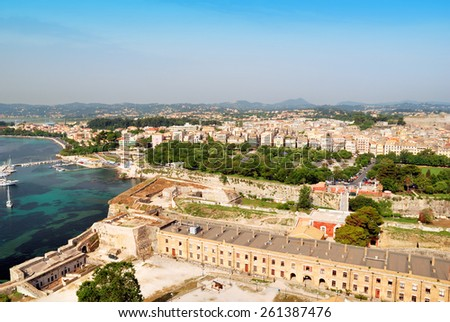 Historic center of Kerkyra town on the island of Corfu in Greece - stock photo