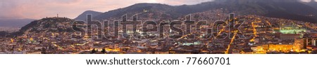 HISTORIC CENTER OF QUITO, PANORAMA BY NIGHT  - stock photo