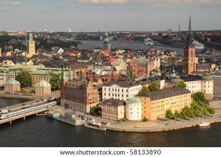 Historic Center of Stockholm City - stock photo