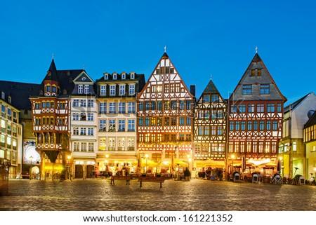 Historic Centre of Frankfurt at Twilight - stock photo