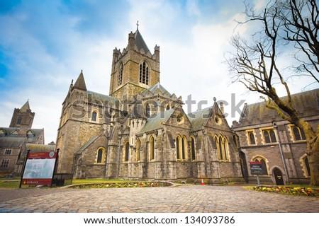 Historic Christ Church in Dublin Ireland - stock photo