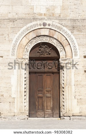 Historic church in Bevagna (Perugia, Umbria, Italy), door - stock photo