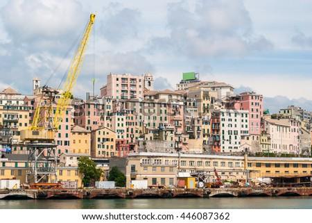 Historic city center of Genoa seen from the sea - stock photo