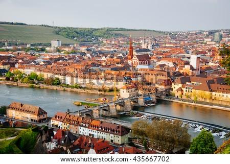 Historic city of Wurzburg with bridge Alte Mainbrucke, Germany.  - stock photo