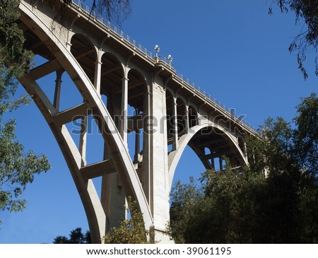 Historic Colorado Boulevard Bridge in Pasadena California. - stock photo