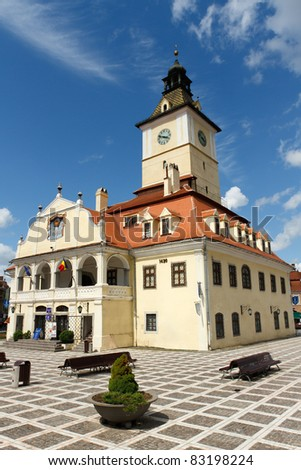 Historic Council House in the Romanian town of Brasov, Transylvania - stock photo