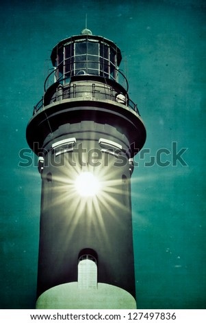 Historic Fire Island Lighthouse Long Island vintage toned and textured - stock photo