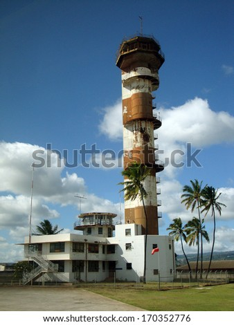 Historic Ford Island aviation control tower at Pearl Harbor Hawaii.   The Air Traffic Control Tower is considered a great monument to this era and the vital service it provided. - stock photo