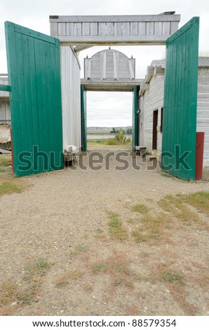 historic Fort Union Trading Post gate - stock photo