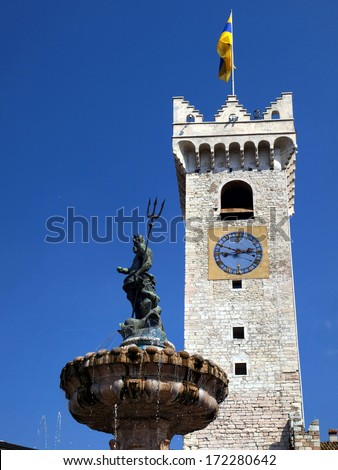 Historic fountain in the cathedral square of Trento (Trentino Alto Adige, Italy)  - stock photo
