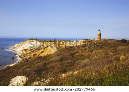 Historic Gay Head Lighthouse, Martha's Vineyard, Massachusetts - stock photo