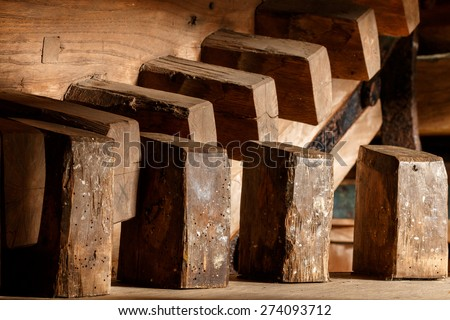 Historic gear of windmill in The Netherlands. The gear is used to drive a screw pump for water. - stock photo