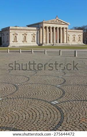 historic glyptothek in munich, famous building koenigsplatz - stock photo