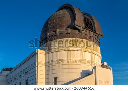Historic Griffith Observatory in the Hollywood Hills of Los Angeles, California. - stock photo