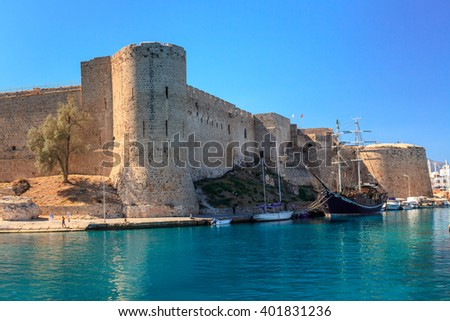 Historic harbour and the old town in Kyrenia (Girne) on the Island of Cyprus. - stock photo