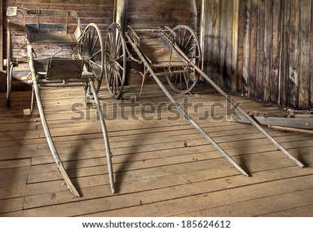 Historic Hill End old horse buggies from gold rush days - stock photo