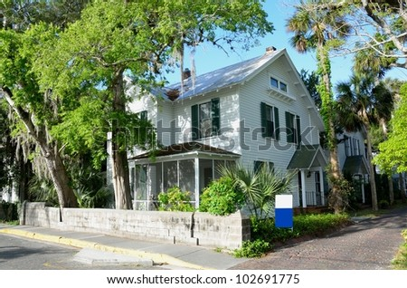 Historic home for sale at St. Augustine, Florida, USA.