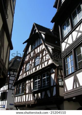 Historic homes in old center of Strasbourg, France - stock photo