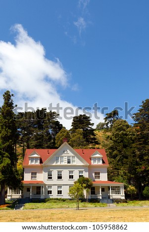 Historic House With White Painted Siding And A Red Roof At Cavallo Point  Lodge And Resort