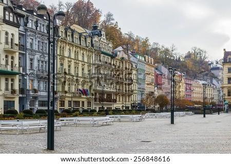 Historic houses in city center of Karlovy Vary,Czech republic - stock photo
