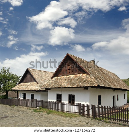 Historic houses in the village of Holloko, (Holl�³k?) - UNESCO World Heritage Site, Hungary - stock photo