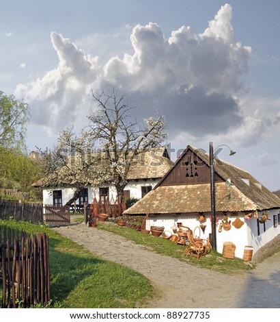 Historic houses in the village of Holloko, (Hollók?) - UNESCO World Heritage Site, Hungary - stock photo