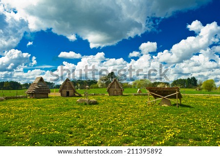 historic huts - stock photo