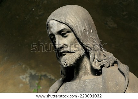 Historic Jesus on the old Prague Cemetery, Czech Republic