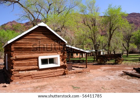 Historic Log Cabin at Lee's Ferry - stock photo