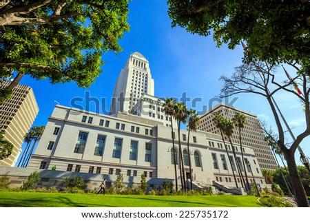 Historic Los Angeles City Hall with blue sky, CA USA - stock photo