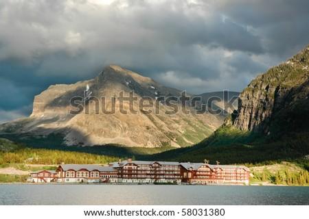 Historic Many Glacier Hotel at Glacier National Park - stock photo
