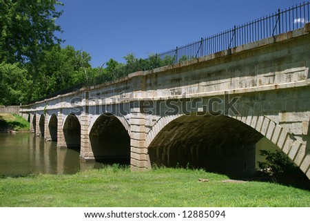 Historic Monocacy Aqueduct of the C&O Canal, Frederick County, Maryland Horizontal - stock photo