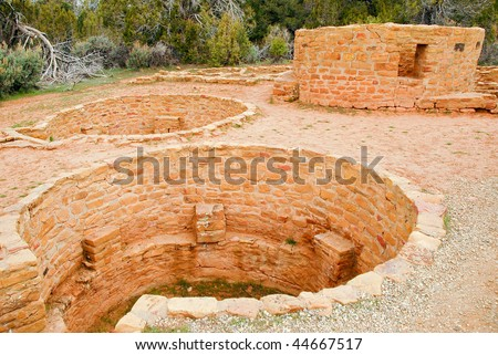 historic Native American indian reservoir ruins - stock photo