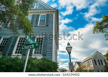 Historic neighborhood in downtown Charleston, South Carolina. - stock photo