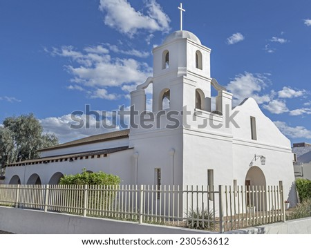 Historic Old Adobe Mission in Old Town Scottsdale, Arizona. - stock photo