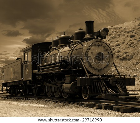Historic old steam locomotive parked on a siding on the Comstock in Gold Hill, Nevada - stock photo