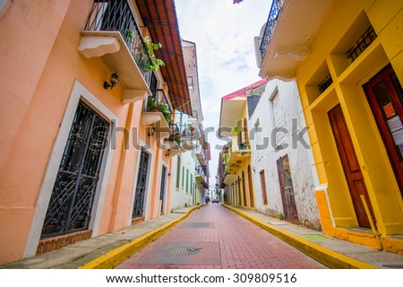 historic old town in Panama city - stock photo