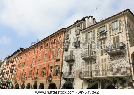 Historic old town of Cuneo, Italy - stock photo