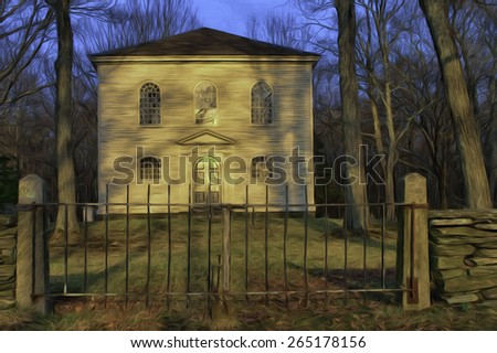Historic Old Trinity Church in Brooklyn, Connecticut - built in 1771 - stock photo