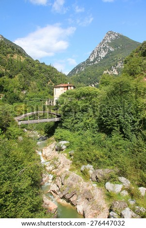 historic paper mill valley with bridge, near toscolano, italy - stock photo
