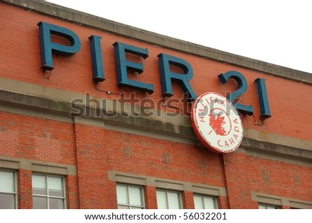 Historic Pier 21 in Halifax, Nova Scotia. The place where so many immigrants entered Canada by boat. - stock photo