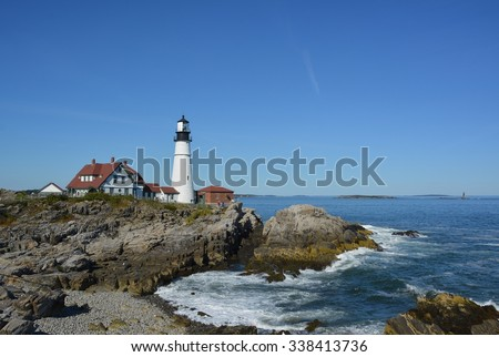 historic Portland Head lighthouse in Cape Elizabeth, Maine, overlooking the Casco Bay in the Gulf of Maine